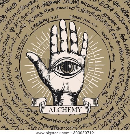 Vector Illustration With Open Hand With All Seeing Eye Symbol. Human Palm With Ancient Hieroglyphs,