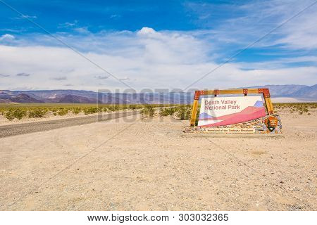 Panamint Springs, Usa - April 4, 2019: Death Valley National Park West Entrance Sign On A Sunny Day.