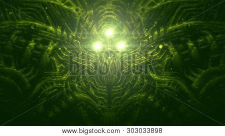Alien Astronaut Illustration In Genre Of Horror Fiction. Green Color Background.