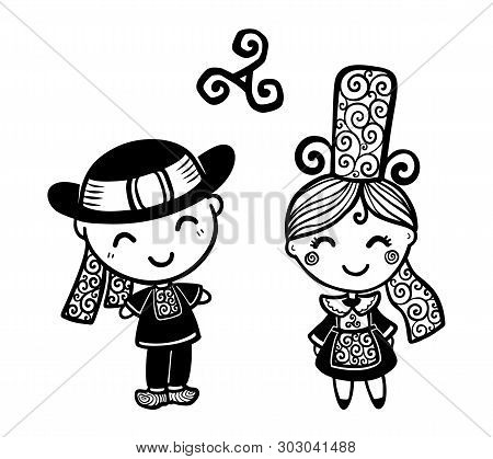 fec4dfdc Breton Kids In Traditional Breton Bigouden Costumes Black And White Vector  Illustration