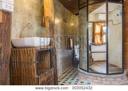 Sink And Faucet In Toilet Of Country Loft Interior Design Room. Interior Design Room Include Mirror