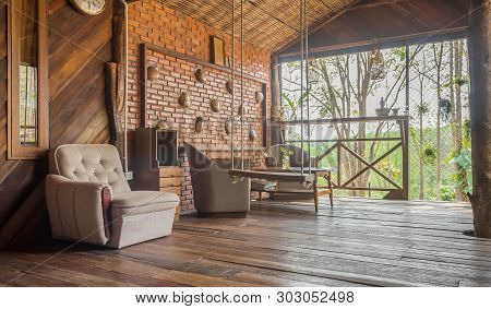 Arm Chair In Living Room Of Country Interior Design Room With Forest. Interior Design Room Include T