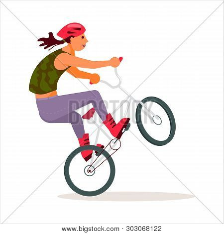 People Cycling, Bike Performer With Helmet Doing Exercis Acrobatic Figureon On White Background. Fla