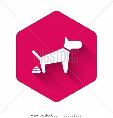 White Dog Pooping Icon Isolated With Long Shadow. Dog Goes To The Toilet. Dog Defecates. The Concept