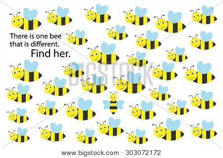 Find Bee That Different, Spring Fun Education Puzzle Game For Children, Preschool Worksheet Activity