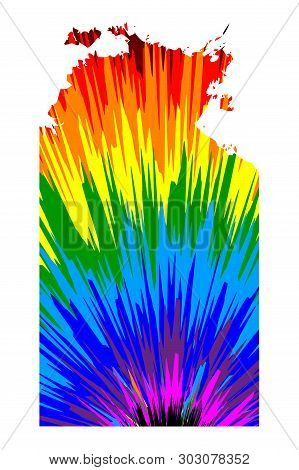 Northern Territory (australian States And Territories, Nt) Map Is Designed Rainbow Abstract Colorful