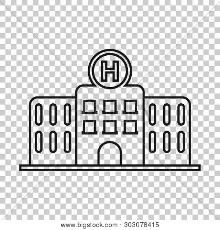 Hospital Building Icon In Transparent Style. Infirmary Vector Illustration On Isolated Background. M