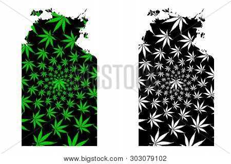 Northern Territory (australian States And Territories, Nt) Map Is Designed Cannabis Leaf Green And B