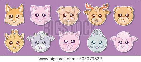 Vector Set Of Cute Kawaii Animals. Kawaii Faces. Cartoon Animals. Kawaii Rabbit. Kawaii Eyes. Vector
