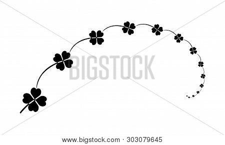 Composition, Clovers With Four Leaves Sign, Quatrefoil Black Design Elements For Saint Patrick Day H