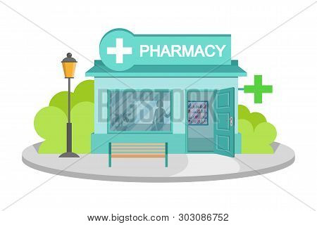 Vector Image Drugstore. Facade Of Pharmacy Store Isolated On White Background. Drugstore House. Cart