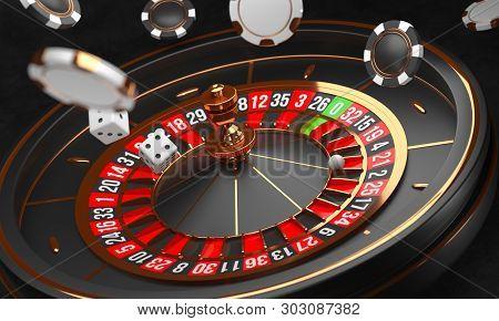 Casino Background. Luxury Casino Roulette Wheel On Black Background. Casino Theme. Close-up Black Ca