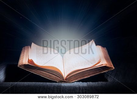 Open Magic Book, Blue Cool White Light From A Book, Magic, True Knowledge, Light Of Science