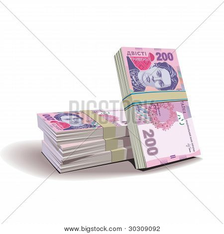 Hryvnia banknotes vector illustration, financial theme Hryvnia banknotes vector illustration, finan