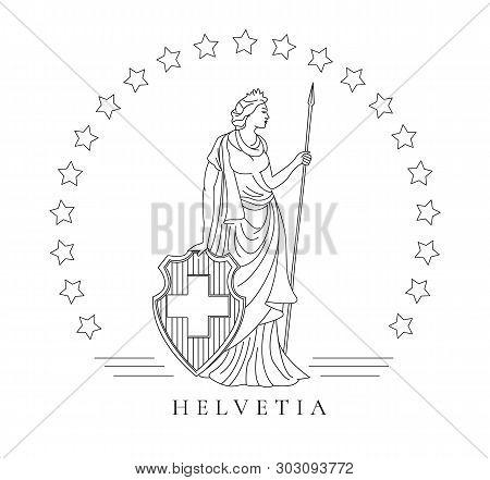 Personified Symbol Of Switzerland Called Helvetia, Graphic Illustration In Line Tehnique