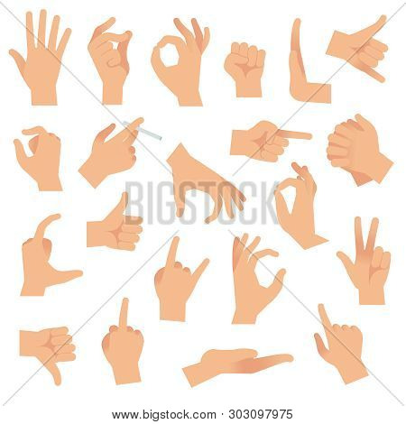 Flat Hand Gestures. Pointing Human Finger Gesture, Open Hand Signal. Arm Communication Attention Fin