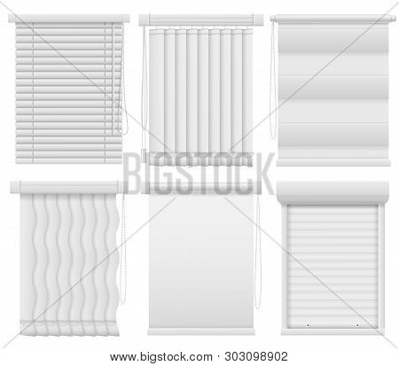 Window Blinds. Horizontal, Vertical Closed And Open Jalousie. Darkening Blind Curtains, Office Room