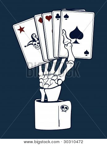 Skeleton Hand Holding Cards
