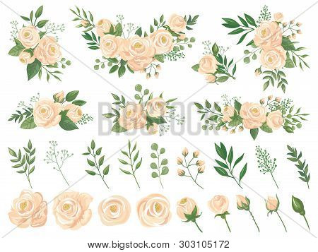 Floral Bouquet. Rose Flowers, Gardening Roses Bouquets And Pastel Colors Flower Buds With Petals Car