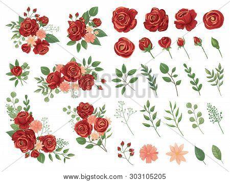 Red Floral Bouquet. Burgundy Rose Flower, Vintage Roses Bouquets And Spring Flowers Vector Illustrat