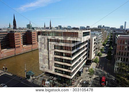 Hamburg, Germany - May 15, 2019: New Modern Buildings At Hafencity Near The Port Of Hamburg. Germany