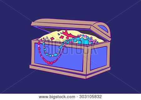 Treasure Box For Storage Of Jewelry. Decorative Casket With Gold Coins, Necklaces.