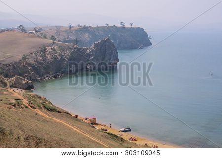 Lake Baikal. Olkhon Island. Village Khuzhir. Small Beach View From Above.