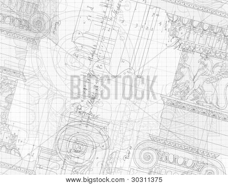 Blueprint - hand draw sketch ionic architectural order