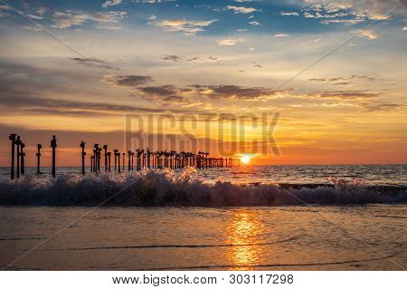 Beach Sunset With Sea Waves Image Is Taken At Alleppey Kerala India. It Is Showing The Human Love Of