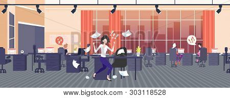 Businesswoman Throwing Paper Sheets Angry Emotional Business Woman Screaming On Workers Bad Job Conf