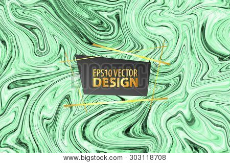 Marble Green Texture Tile Pattern. Watercolor Background Vector Illustration. Grunge Malachite Liqui