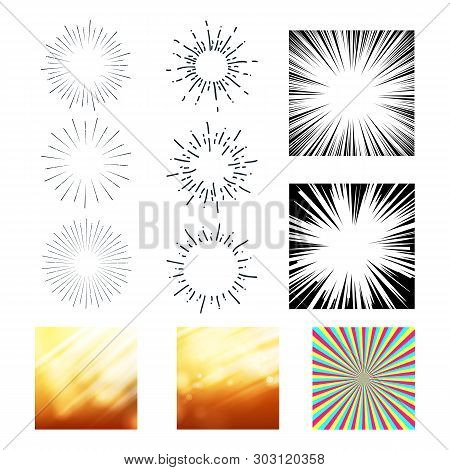 Collection Of Sunrays And Starburst Set Vector. Colorful, Black And White Different Exploding And St