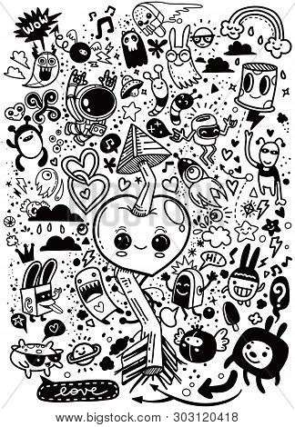 Hand Drawn Vector Illustration Of Doodle, Love And Fun Concept