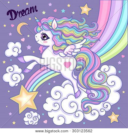 Cartoon Unicorn. White, Rainbow Unicorn With A Long Mane. On A Lilac Background. Vector