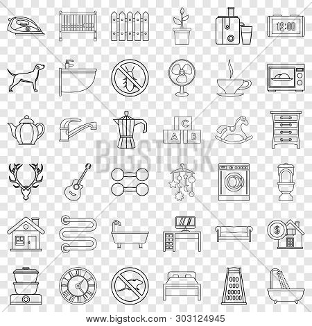 Shower Icons Set. Outline Style Of 36 Shower Vector Icons For Web For Any Design