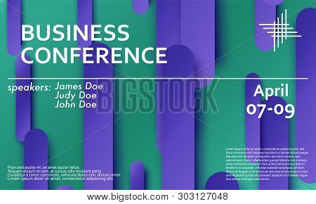 Conference Announcement. Seminar Design Template. Violet Material Design. Business Conference Abstra