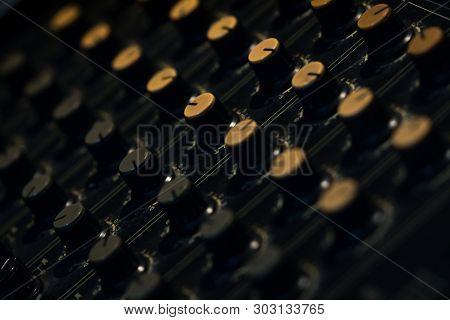 Audio Sound Mixer Console. Sound Mixing Desk. Music Mixer Control Panel In Recording Studio. Audio M