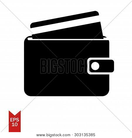 Vector Icon Of Wallet With Card. Black Wallet. Payment Icon. Money Icon Wallet. Shopping Wallet. Sho