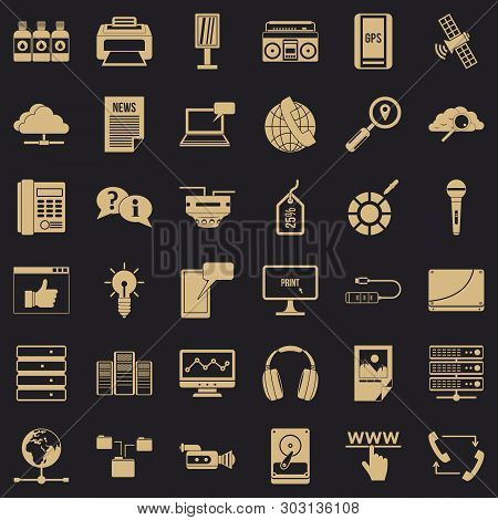Site Information Icons Set. Simple Style Of 36 Site Information Vector Icons For Web For Any Design
