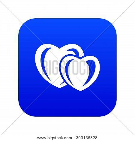 Heart Love Icon Blue Vector Isolated On White Background
