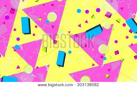 Abstract Fun Background. Memphis Hipster Style 80s-90s. Pop Art Color Background. Funky Abstract Pat