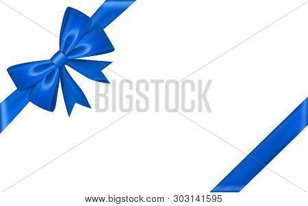 Ribbon Bow For Gift, Isolated White Background. Satin Design Festive Frame. Decorative Christmas, Va