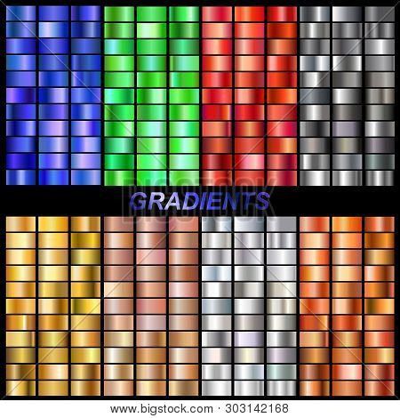 Set Of Vector Gradients Collection.collection Metallic Golden, Rose Gold, Silver, Steel, Bronze, Eme