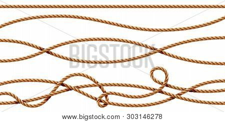 Set Of Isolated Curvy 3d Ropes. Straight And Tied Up Sailor Strings. Realistic Marine Cord Or Retro,