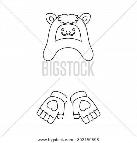 Vector Illustration Of Hat And Gloves  Symbol. Set Of Hat And Pompom Stock Symbol For Web.