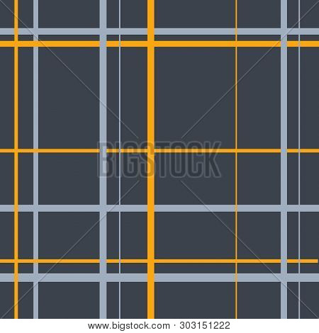 Endless Gray Scottish Abstract Traditional Cell Pattern. Seamless Tartan Square Ornament For Plaid,