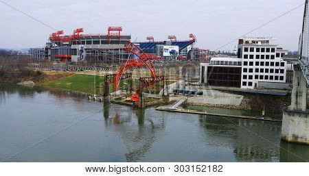 Nashville,tennessee/united States - January 10: View Of Nissan Stadium In Nashville, Tn. Home To The