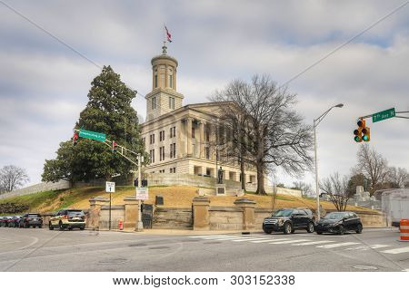 Nashville,tennessee/united States - January 10: Tennessee State Capitol Building In Nashville. Desig