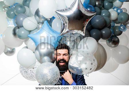 Happy Bearded Man With Balloons. Happy Man Celebrating. Happy Birthday. Balloon Party. Smiling Man W