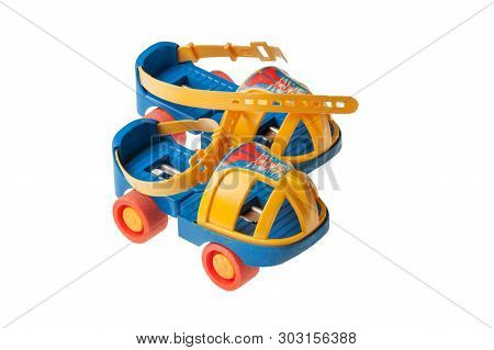 Old Style Plastic Roller Skate Isolated On White